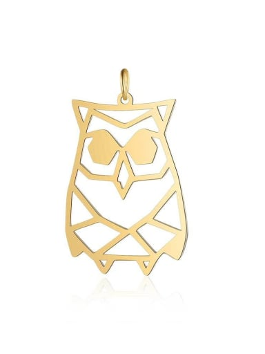 JA129 2x5 Stainless steel Gold Plated Owl Charm Height :21 mm , Width:  34mm