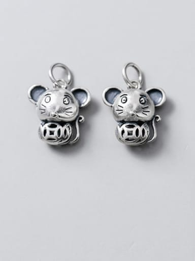 925 Sterling Silver Mouse Charm Height : 14.5 mm , Width: 13.5 mm