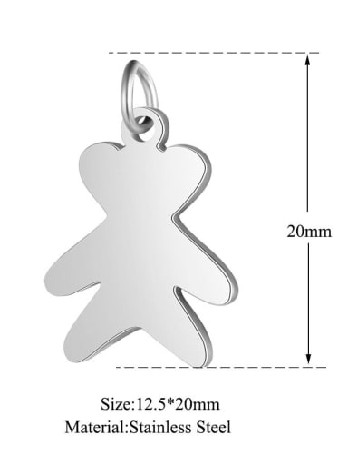 Stainless steel Bear Charm Height : 12.5 mm , Width: 20 mm