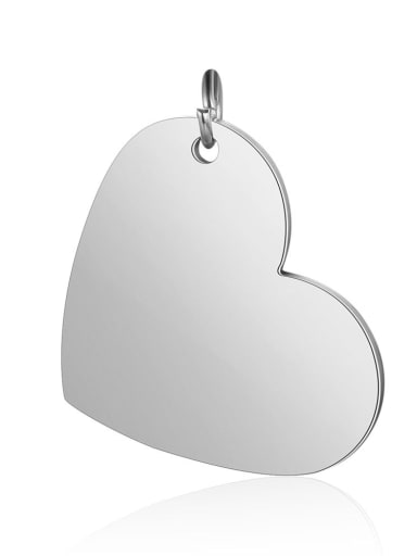 XT619 1 Stainless steel Heart Charm Height : 20mm , Width: 26mm