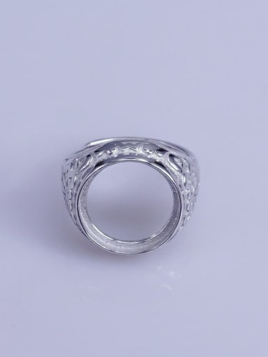 925 Sterling Silver 18K White Gold Plated Geometric Ring Setting Stone size: 14*14mm