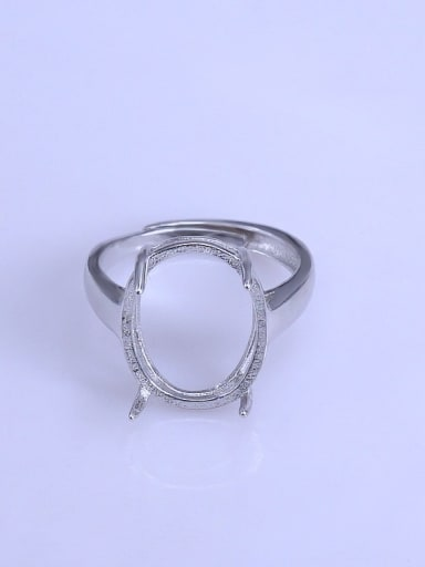 925 Sterling Silver 18K White Gold Plated Oval Ring Setting Stone size: 15*20mm