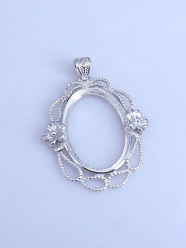 925 Sterling Silver Rhodium Plated Oval Pendant Setting Stone Size: 20*28MM