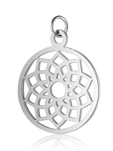 T523S Stainless steel Round Flower Charm Height : 19 mm , Width: 26 mm