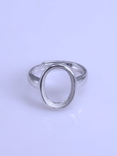 925 Sterling Silver 18K White Gold Plated Geometric Ring Setting Stone size: 11*15mm