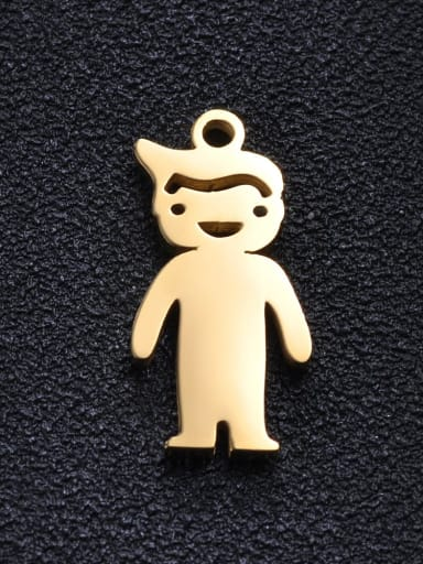 boy Stainless steel Gold Plated Charm Height : 10mm , Width: 20 mm