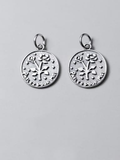925 Sterling Silver Coin Message Flower Charm Height : 17 mm , Width: 14.5 mm