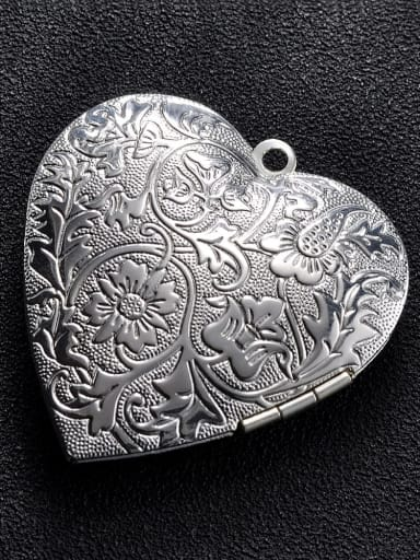 silvery Copper Heart Charm Height : 39.8mm , Width: 42.3 mm