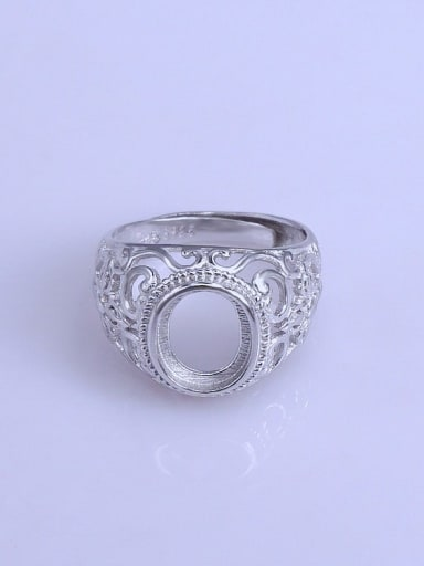 925 Sterling Silver 18K White Gold Plated Round Ring Setting Stone size: 8*10mm