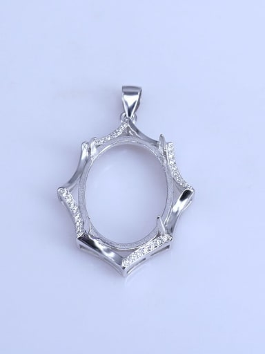 925 Sterling Silver Rhodium Plated Round Pendant Setting Stone size: 18*25mm