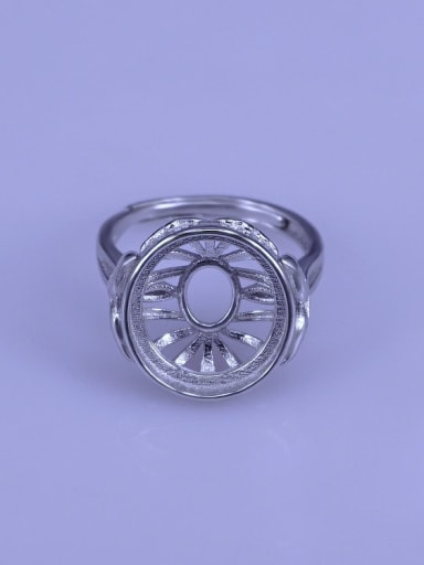 925 Sterling Silver 18K White Gold Plated Geometric Ring Setting Stone size: 12.5*13.5mm