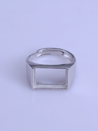 925 Sterling Silver 18K White Gold Plated Geometric Ring Setting Stone size: 10*14mm