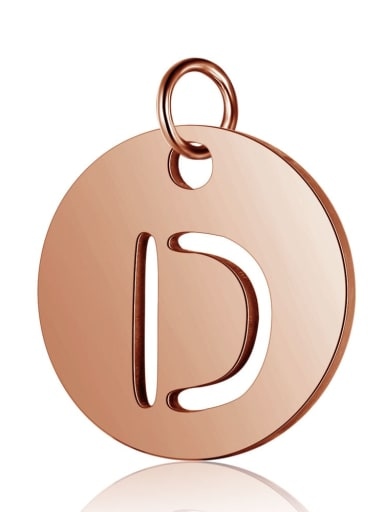 Stainless steel 18K Rose Gold Plated Letter Charm Diameter : 12 mm