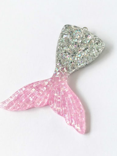 Silver powder Multicolor Resin Fish Charm Height : 5.5 mm , Width: 7.2 mm