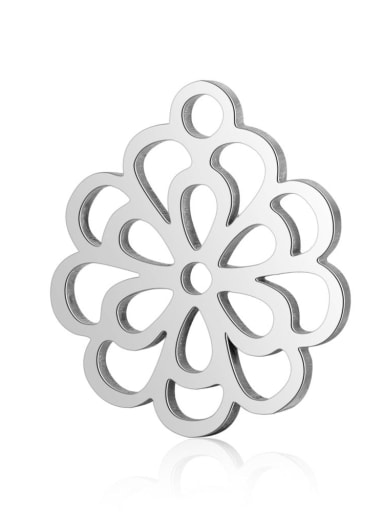 Stainless steel Flower Charm Height : 13.7 mm , Width: 14.5 mm