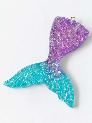 Orchid Multicolor Resin Fish Charm Height : 5.5 mm , Width: 7.2 mm