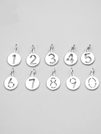 925 Sterling Silver Number Round Charm Diameter : 1.3 mm