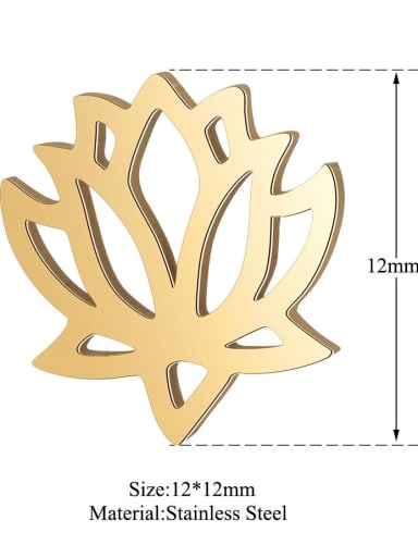 XT541G Stainless steel Gold Plated Flower Charm Height : 12 mm , Width: 12 mm
