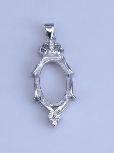 925 Sterling Silver 18K White Gold Plated Oval Pendant Setting Stone size: 11*18mm