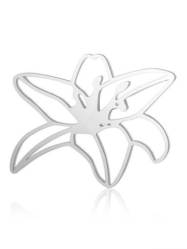 JA163 1x5 Stainless steel Flower Charm Height : 26 mm , Width: 21 mm