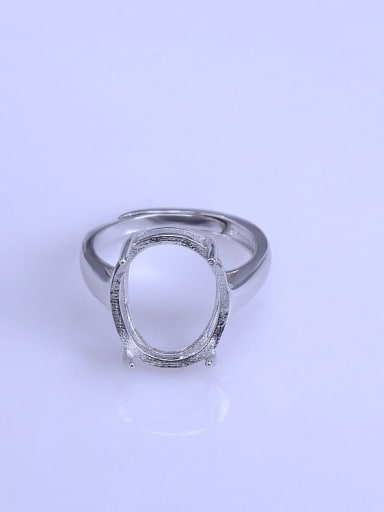 925 Sterling Silver 18K White Gold Plated Oval Ring Setting Stone size: 13*16mm