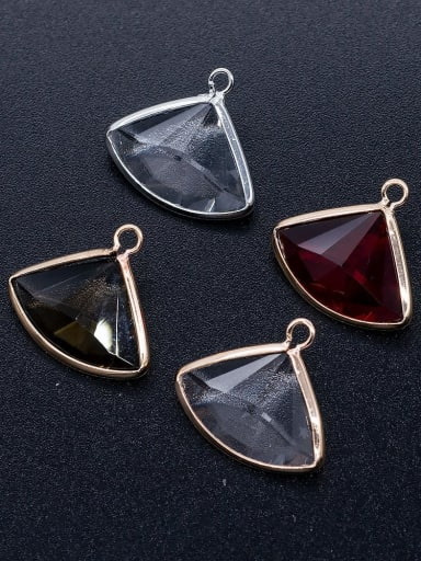 Brass Multicolor Glass Triangle Charm Height : 17 mm , Width: 19 mm