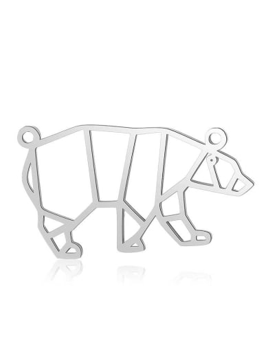 JA128 1x5 Stainless steel Gold Plated Bear Charm Height : 30 mm , Width: 17 mm