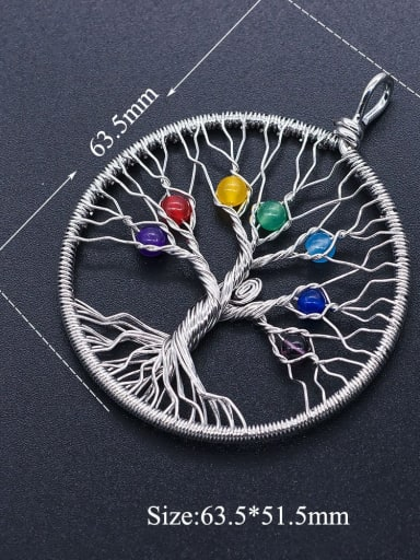 1 Stainless steel Tree Round Charm Height : 63.5 mm , Width: 51.5 mm