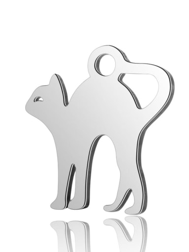 Stainless steel Cat Charm Height : 12 mm , Width: 12.5 mm