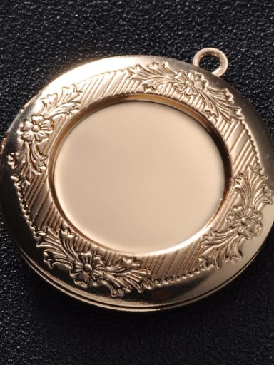 KC gold (champagne gold) Copper Round Charm Height :  32.5mm , Width:35.7 mm
