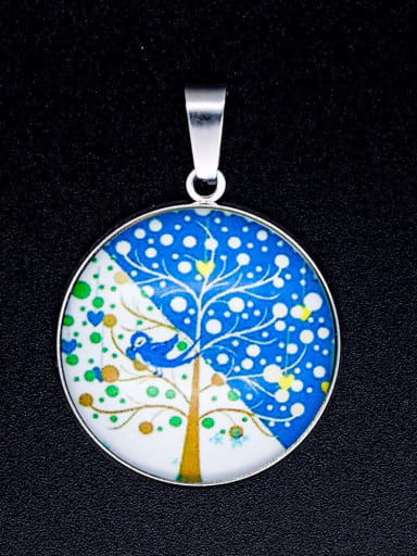 Stainless steel Multicolor Millefiori Glass Tree Charm Height : 38 mm , Width: 26.5 mm