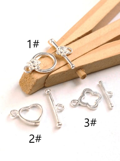 925 Sterling Silver Heart Round Toggle Clasp