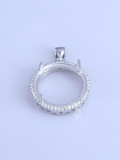 925 Sterling Silver Rhodium Plated Round Pendant Setting Stone size: 20*20mm