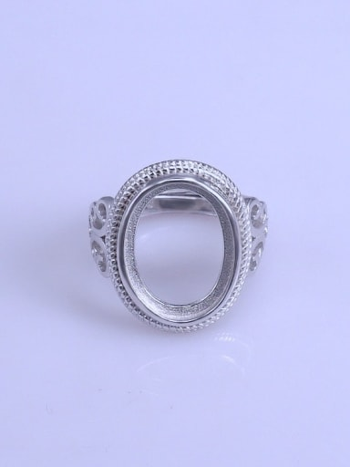 925 Sterling Silver 18K White Gold Plated Geometric Ring Setting Stone size: 12*16mm