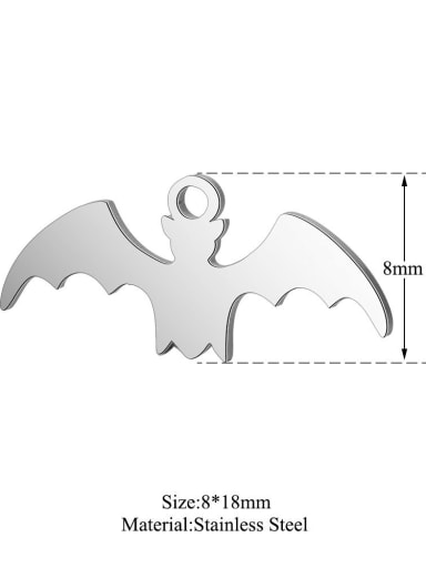 Stainless steel bat Charm Height : 17.8 mm , Width: 7.9 mm