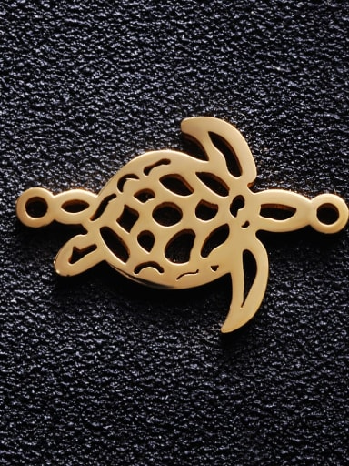golden Stainless steel Turtle Charm Height : 16.83 mm , Width: 25.2 mm