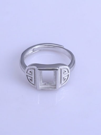 925 Sterling Silver 18K White Gold Plated Geometric Ring Setting Stone size: 6*8mm