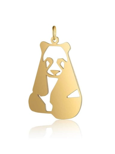 JA127 2x5 Stainless steel Gold Plated Panda Charm Height : 20 mm , Width: 32 mm