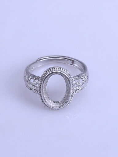 925 Sterling Silver 18K White Gold Plated Geometric Ring Setting Stone size: 8*12mm