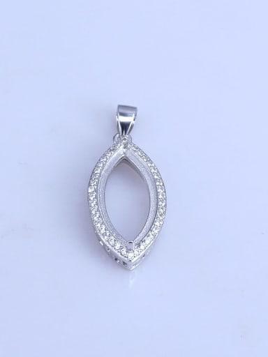 925 Sterling Silver Rhodium Plated Geometric Pendant Setting Stone size: 10*20mm