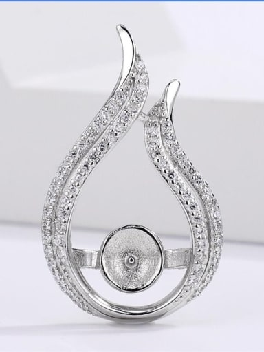 925 Sterling Silver 18K White Gold Plated Ball Pendant Setting Stone diameter: 10mm