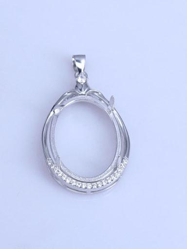 925 Sterling Silver Rhodium Plated Geometric Pendant Setting Stone size: 18*25mm