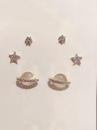Brass Cats Eye Star Minimalist Stud Earring