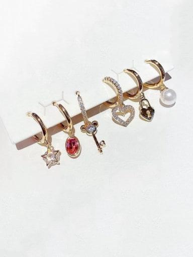 Copper Cubic Zirconia Key Cute Huggie Earring
