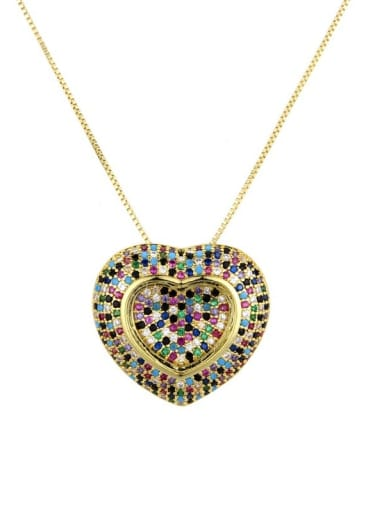 gold Brass Cubic Zirconia Heart Dainty Locket 2.4cm 2.6cm Necklace