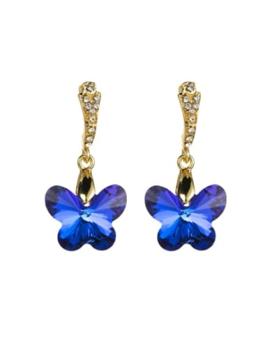 Alloy Glass Bead Drop 3.6cm * 1.8cm butterfly Earring