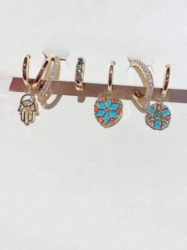 Brass Cubic Zirconia Heart Minimalist Huggie Earring