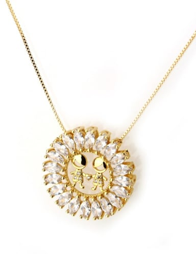 White Brass Cubic Zirconia White Initials 3.6cm*3.6cm Necklace