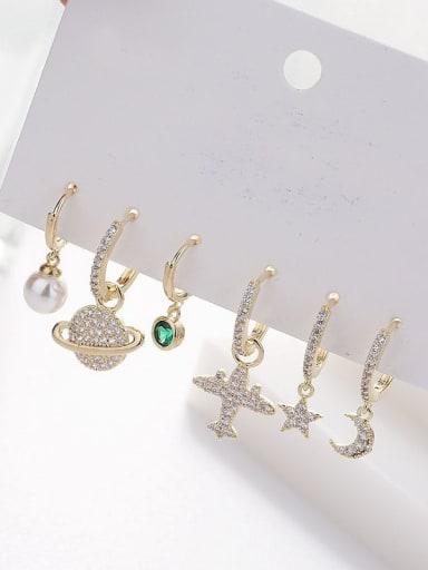 Brass Rhinestone Star Moon Minimalist Huggie Earring
