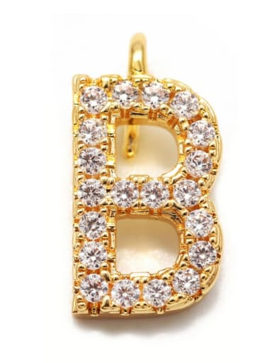 Gold B Copper CZ DIY Letter Artisan Initials Charm